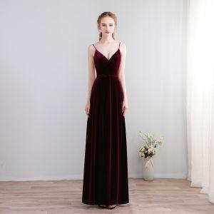 Modest / Simple Floor-Length / Long Burgundy Evening Dresses  2018 A-Line / Princess V-Neck X-Strap Backless Evening Party Formal Dresses