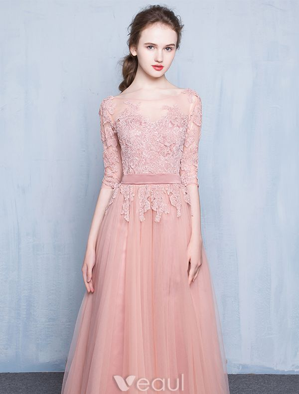 Elegant Pink Evening Dress 2016 A-line Scoop Neck Applique Lace Pink Tulle Long Dress
