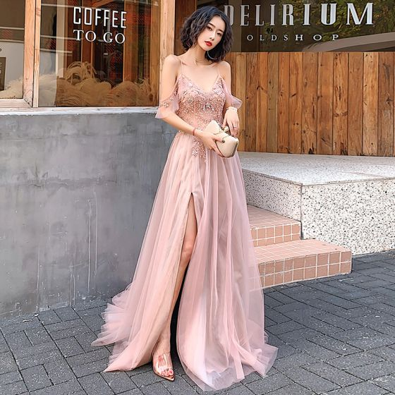 Sexy Blushing Pink Evening Dresses  2020 A-Line / Princess Spaghetti Straps Beading Pearl Rhinestone Sequins Sleeveless Backless Split Front Floor-Length / Long Formal Dresses
