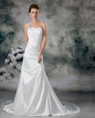 Satin Sequins One Shoulder Ruffle Court Train Sheath Wedding Dress