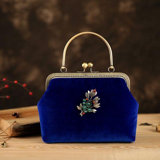 Kinesisk Stil Vintage Kongeblå Velour Beading Firkantede Clutch Taske 2020