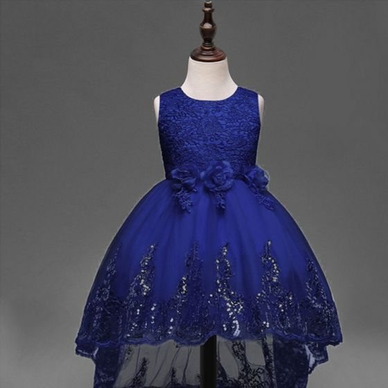 Chic / Beautiful Navy Blue Flower Girl Dresses 2017 A-Line / Princess U-Neck Lace Appliques Embroidered Wedding