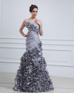 Taffeta Ruffle Flower Applique Beading Sweetheart Floor Length Prom Dress