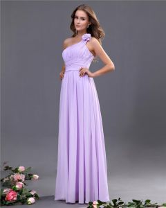 Elegant A-line One Shoulder Chiffon Floor Length Bridesmaid Dress