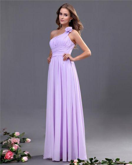 Elegant A-line One Shoulder Chiffon Floor Length Bridesmaid Dress