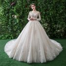 Classy Champagne Wedding Dresses 2019 A-Line / Princess Scoop Neck Lace Flower Long Sleeve Backless Royal Train