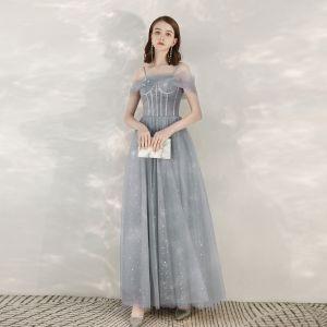 Elegante Grau Abendkleider 2020 A Linie Spaghettiträger Kurze Ärmel Star Pailletten Lange Rüschen Rückenfreies Festliche Kleider