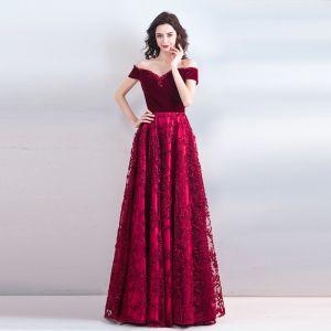 Chic / Belle Bordeaux Longue Robe De Soirée 2018 Princesse Bustier Charmeuse Dos Nu Perlage Faux Diamant Soirée Robe De Ceremonie