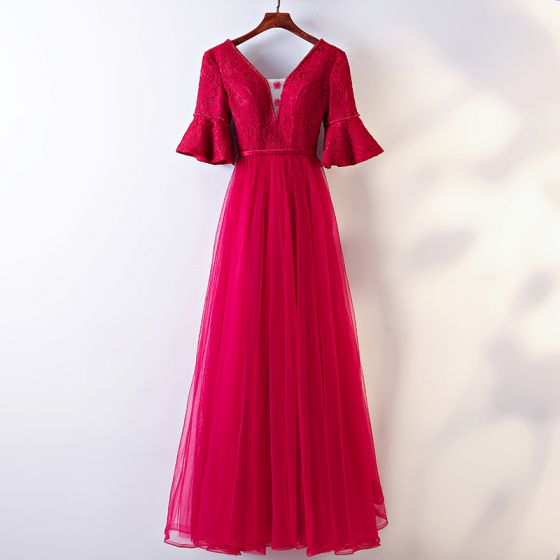 Chic / Beautiful Red Evening Dresses  2017 A-Line / Princess Lace Flower V-Neck Backless 1/2 Sleeves Ankle Length Evening Party