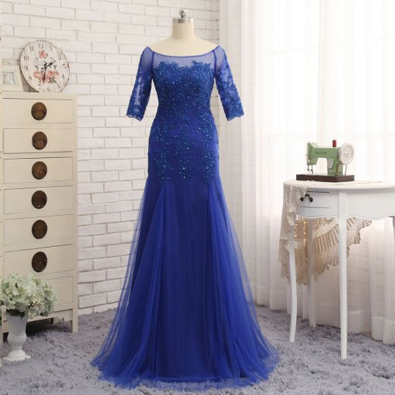Chic / Beautiful Royal Blue Trumpet / Mermaid Sweep Train Mother Of The Bride Dresses 2019 Lace Tulle U-Neck Appliques Backless Beading Embroidered Sequins Church Wedding Party Dresses