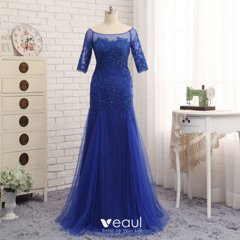 Chic Beautiful Royal Blue Trumpet Mermaid Sweep Train Mother Of The Bride Dresses 2019 Lace Tulle U Neck Liques Backless Beading Embroidered