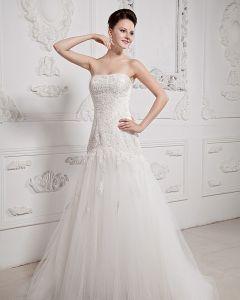 Bodenlange Liebsten Applique-tulle-ballkleid Brautkleid