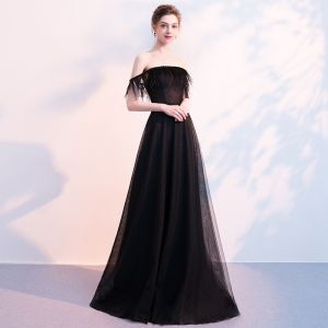 Elegant Black Evening Dresses  2018 A-Line / Princess Off-The-Shoulder Short Sleeve Beading Feather Sweep Train Backless Formal Dresses