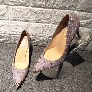 Moderne / Mode Glitter Violet Escarpins 2019 Cuir Paillettes Rivet 9 cm Talons Aiguilles À Bout Pointu Escarpins