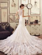 Mermaid Applique Handmade Flowers Lace Champagne Wedding Dresses