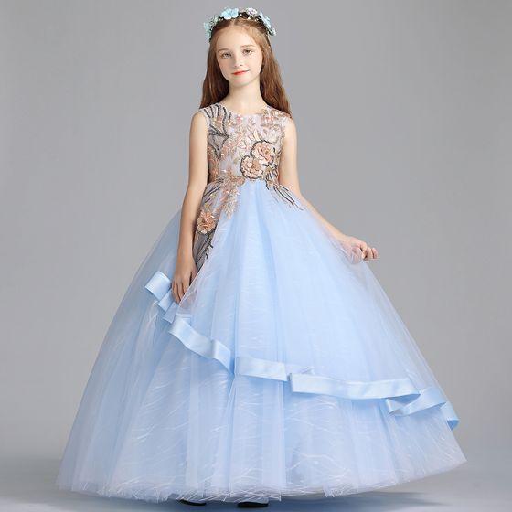 Hermoso Azul Cielo Vestidos Para Niñas 2019 A Line Princess Scoop Escote Sin Mangas Bordado Flor Perla Lentejuelas Largos Ruffle Vestidos Para Bodas