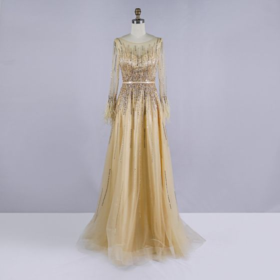 High-end Gold Prom Dresses 2020 A-Line / Princess See-through Scoop Neck Long Sleeve Feather Sash Beading Sequins Sweep Train Ruffle Formal Dresses