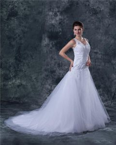 Tulle V-Neck Beading Sweep A-line Wedding Dress