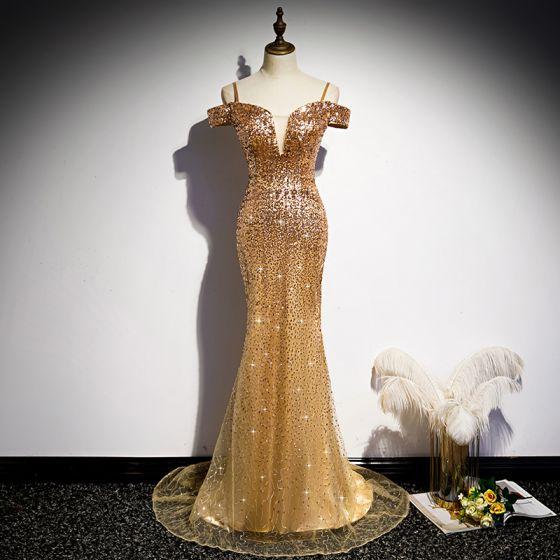 Błyszczące Złote Cekiny Sukienki Wieczorowe 2020 Syrena / Rozkloszowane Spaghetti Pasy Kótkie Rękawy Trenem Sweep Wzburzyć Bez Pleców Sukienki Wizytowe