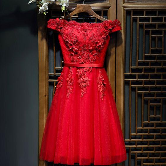 fbada4b170bcc0 Schöne Rot Festliche Kleider Abendkleider 2017 Spitze Künstliche Blumen  Blumen Perle Kurze Ärmel Kurze A Linie