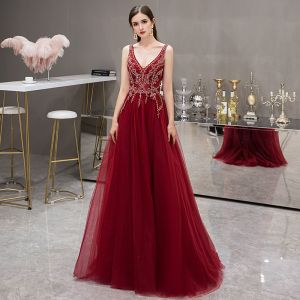 Elegant Burgundy Evening Dresses  2019 A-Line / Princess Deep V-Neck Sleeveless Rhinestone Beading Sweep Train Ruffle Backless Formal Dresses