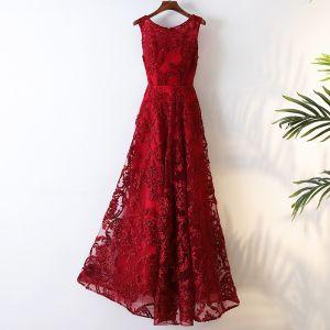Chic / Belle Style Chinois Rouge Soirée 2017 Princesse Encolure Dégagée Sans Manches Fermeture éclair Tresser Dentelle Thé Longueur Tulle