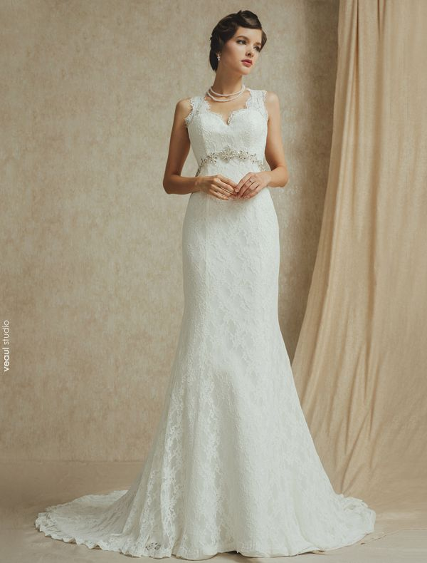 2015 Vintage Mermaid Shoulders Beading Lace Wedding Dress