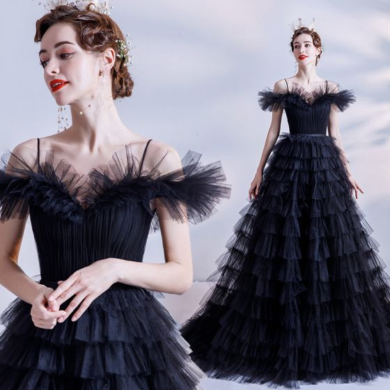 Chic / Beautiful Black Ruffle Prom Dresses 2021 A-Line / Princess Spaghetti Straps Short Sleeve Backless Sweep Train Formal Dresses