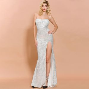 Sparkly Silver Sequins Evening Dresses  2020 Trumpet / Mermaid Sweetheart Sleeveless Split Front Floor-Length / Long Backless Formal Dresses