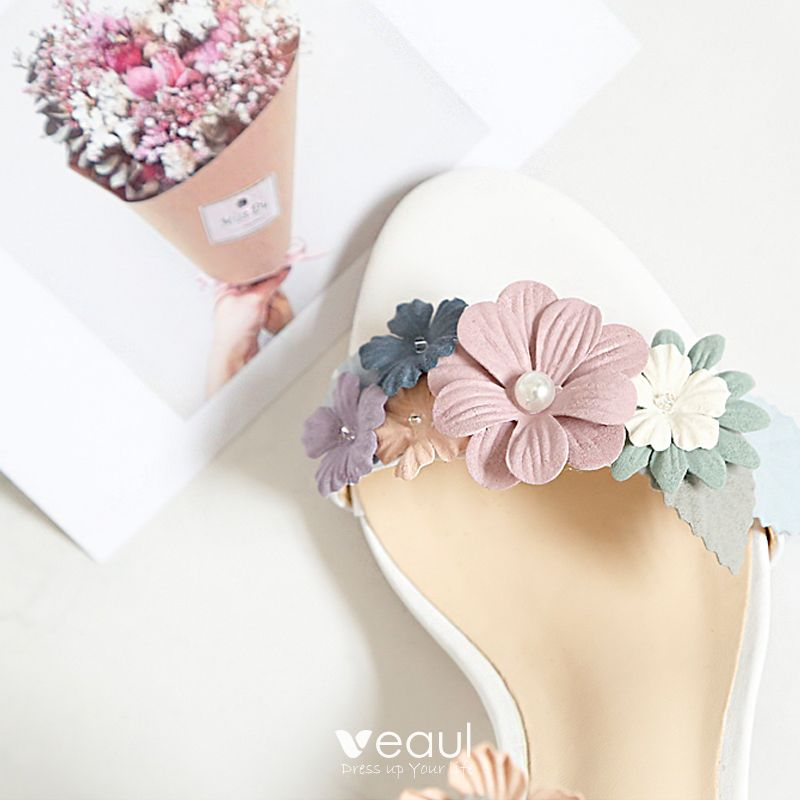 Flower Fairy White 7 cm Office Beading Appliques High Heels Prom Womens Sandals 2018