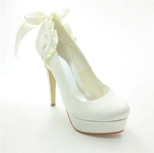 Belles Chaussures De Mariée Escarpins Talons Aiguilles En Satin Avec Ruban Cravate