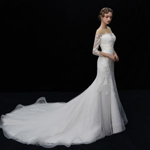 Elegant Ivory See-through Wedding Dresses 2019 Trumpet / Mermaid Square Neckline 3/4 Sleeve Backless Appliques Lace Chapel Train Ruffle