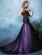 2016 Stylish Mermaid Strapless Black Satin Purple Tulle Backless Evening Dress