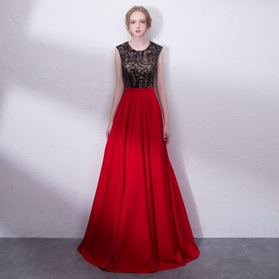Chic / Beautiful Red Evening Dresses  2018 A-Line / Princess Sequins Scoop Neck Backless Sleeveless Floor-Length / Long Formal Dresses
