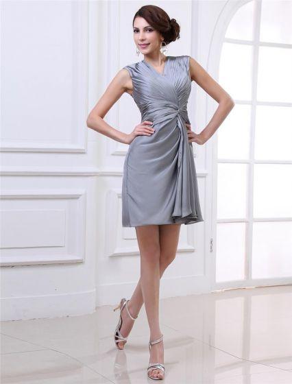 Szyi V Rozwiewa Kolan Womens Szyfonowych Tanie Sukienki Koktajlowe Sukienki Wizytowe