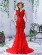 2016 Wunderschönen Meerjungfrau V-ausschnitt Rückenfrei Applikation Blatt Spitze Mit Perlen Strass Rotem Tüll Abendkleid