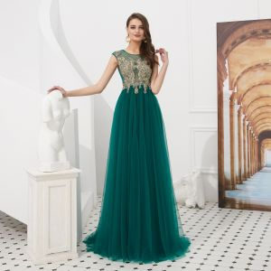 High-end Dark Green See-through Evening Dresses  2020 A-Line / Princess Square Neckline Sleeveless Appliques Lace Beading Sweep Train Ruffle Formal Dresses