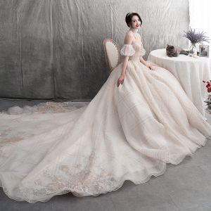 Sexy Luxus / Herrlich Champagner Brautkleider / Hochzeitskleider 2019 A Linie Stehkragen Spitze Pailletten Blumen Ärmellos Rückenfreies Königliche Schleppe