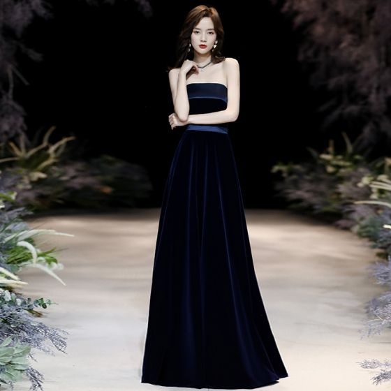 Chic / Beautiful Navy Blue Velour Evening Dresses  2020 A-Line / Princess Strapless Sleeveless Sash Floor-Length / Long Backless Formal Dresses