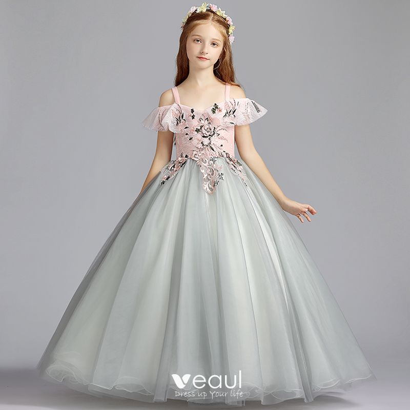 f8b3d47c Chic / Beautiful Grey Flower Girl Dresses 2019 A-Line / Princess Shoulders  Off-The-Shoulder Short Sleeve Appliques Lace Pearl ...