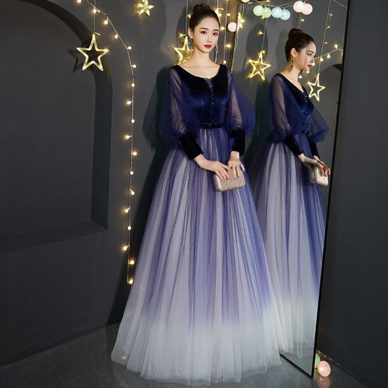 Affordable Royal Blue Gradient-Color Suede Prom Dresses 2019 Princess V-Neck Puffy Long Sleeve Beading Bow Sash Floor-Length / Long Ruffle Backless Formal Dresses