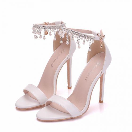 Sexy Weiß Brautschuhe 2018 Perle Strass Quaste Knöchelriemen 11 cm Stilettos Peeptoes Hochzeit Hochhackige