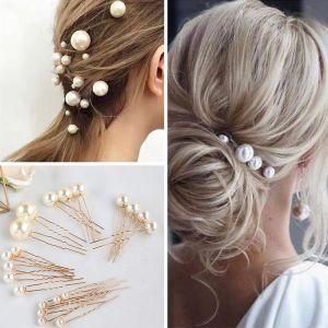 Moda Kość Słoniowa Perła Grzebień Kolczyki Biżuteria Ślubna 2020 Stop Ozdoby Do Włosów Ślub Akcesoria