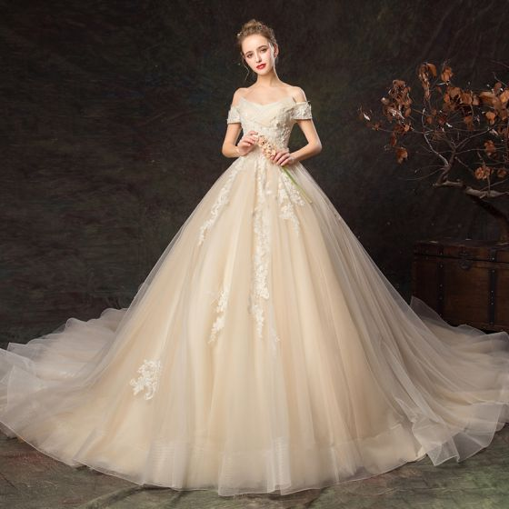 Chic / Beautiful Champagne Wedding Dresses 2019 A-Line / Princess Off-The-Shoulder Pearl Appliques Lace Flower Short Sleeve Backless Cathedral Train