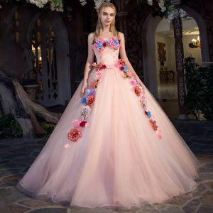 Blomsterfe Perle Rosa Ballkjoler 2019 Prinsesse Strapless Uten Ermer Appliques Blomst Lange Buste Ryggløse Formelle Kjoler