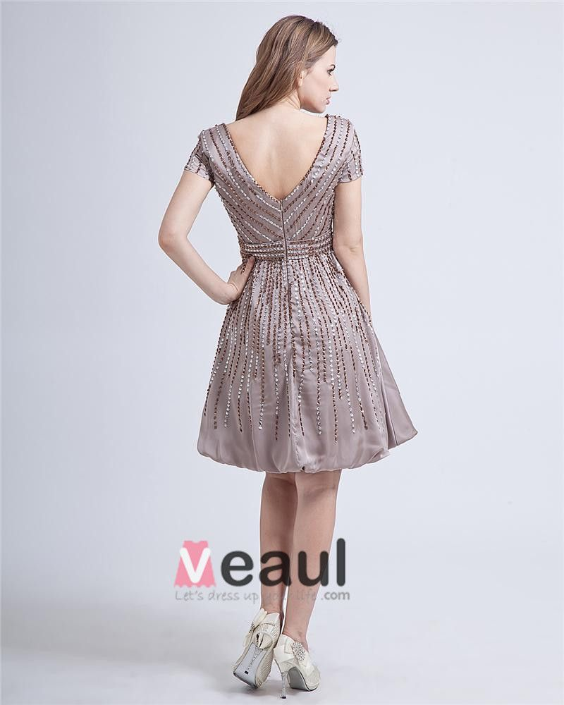 Beading Elastic Satin Ruffles V-Neck Knee-Length Short Sleeves Mothers Special Guests Dresses