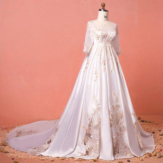Luxe Ivoire Chapel Train Grande Taille Robe De Mariée 2018 U-Cou Charmeuse Lacer Appliques Perlage Paillettes Dos Nu Mariage