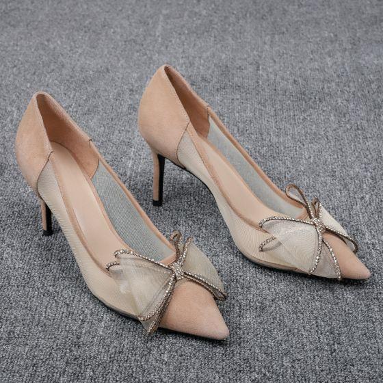 Chic / Beautiful Khaki Prom Pumps 2020 Rhinestone Bow 7 cm Stiletto Heels Pointed Toe Pumps