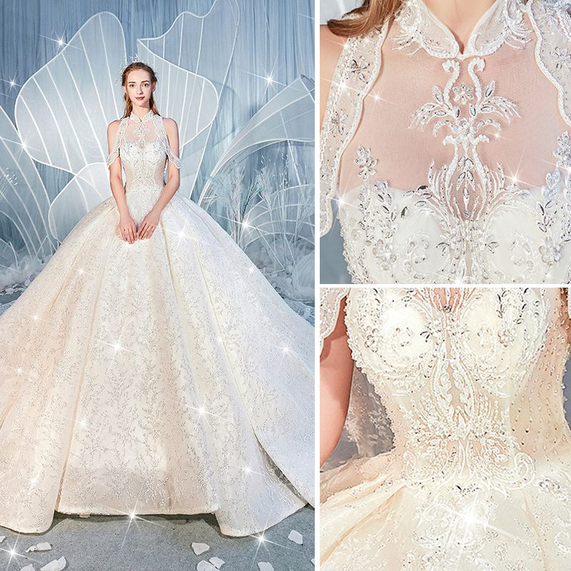 High-end Champagne Wedding Dresses 2019 Ball Gown High Neck Beading Sequins Crystal Lace Flower Sleeveless Backless Royal Train