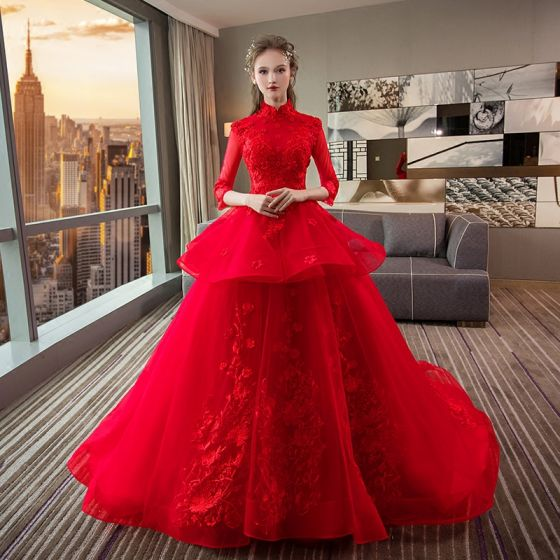 Wedding Dresses Red Zipper Up Appliques Crystal Flower Lace Cathedral Train Lace Tulle High Neck Wedding Fall Spring Summer 3/4 Sleeve Chic / Beautiful Ball Gown 2018